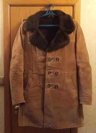 Винтажная модная теплая мужская дубленка пальто куртка шуба  натуральный мех