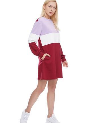 Женское платье - толстовка туника в полоску бордовое, m-xl