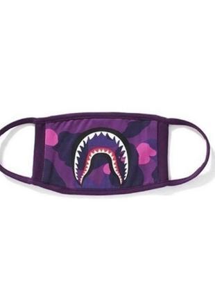Защитная маска захисна маска bape фиолетовая многоразовая