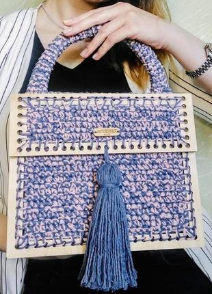 Дизайнерская плетённая сумка,вязаная сумка зефирка,модная трендовая сумочка