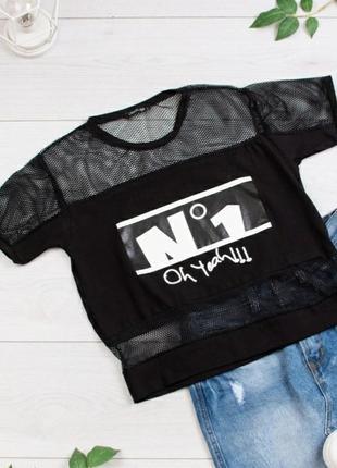 Стильная черная футболка с надписью оверсайз сетка