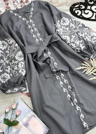 Платье вышиванка серое из натуральной ткани вышивка