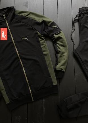 Спортивний костюм пума, чорний з зеленими вставками, якісний та стильний (с-хл)