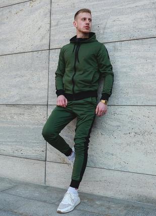 Спортивный костюм зеленого цвета с лампасами, качественная турецкая ткань (с-хл)