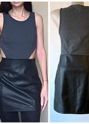 Платье короткое повседневное с юбкой из кожзама h&m