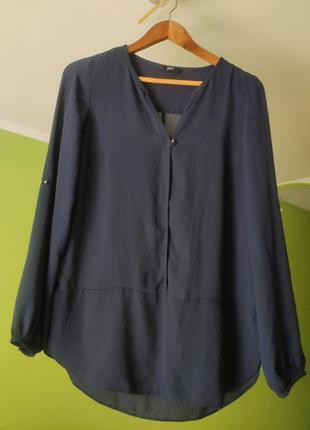 Темно-синяя шифоновая блуза f&f