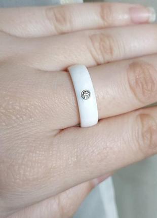 Кольцо керамическое белое керамика колечко3 фото