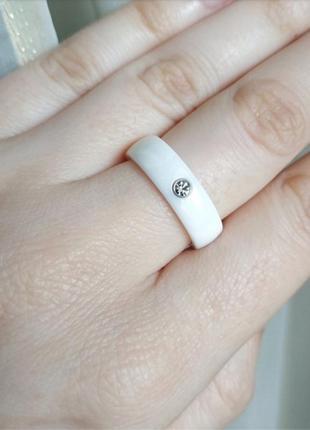 Кольцо керамическое белое керамика колечко