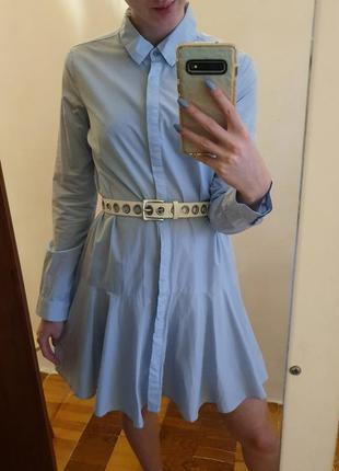 Платье короткое pimkie нежно голубого цвета с длинным рукавом