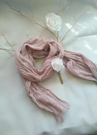 Шарф-палантин цвет чайная роза  хлопок