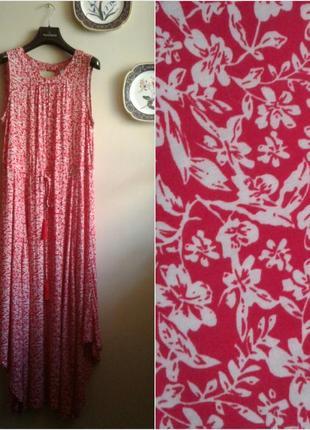 Легкое штапельное платье ассиметричного кроя apricot