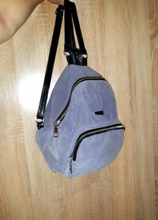 """Классный мини-рюкзак """"под замш"""" на одно отделение, большой карман"""