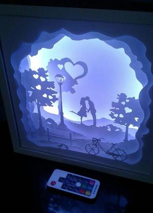 Ночник с пультом д/у, 3d картина,3d ночник, лайтбокс, lightbox, shadowbox