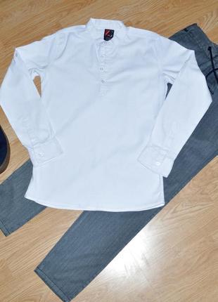Белая фактурная рубашка р.s