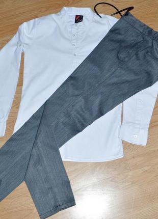 Белая фактурная рубашка р.s5 фото