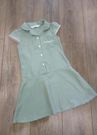 Georgeбелое зеленое в мелкую клетку платье с кружевом на рукавах и кармане