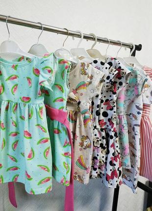 Платье детское, сарафаны летние с принтами: единороги, арбузики, микки маус
