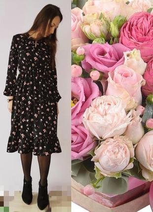 Миди платье в цветочки
