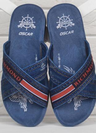 Шлепанцы мужские джинсовые richmond синие с красным облегченные