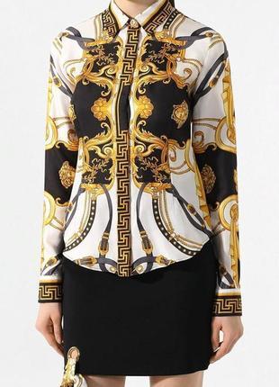 Sale рубашка в стиле версаче новая атлас р. 38 м