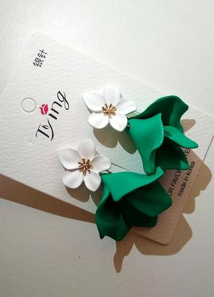 Шикарные яркие серьги цветы в стиле zara