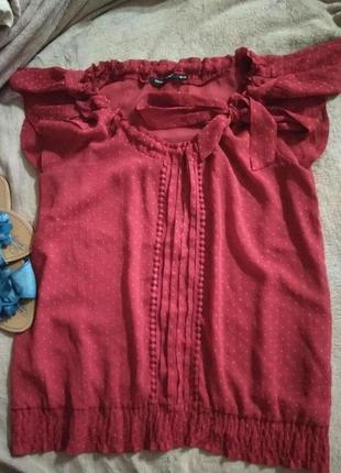 Шикарная летняя лёгкая блуза горох с бантом регулируется 💃☝️- s