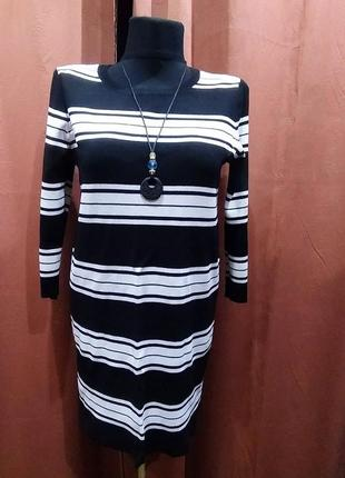 Платье в черно-белую полоску 48 (14р.)dorothy perkins