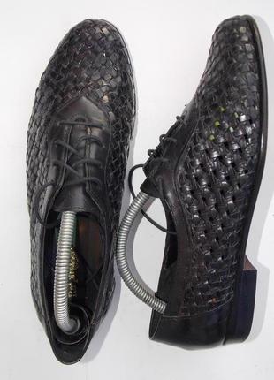 """Р.38 """"ralph harrison"""" италия,натуральная кожа,плетение,туфли на шнуровке 24.5 см"""