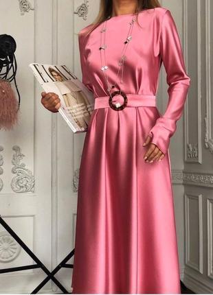 Розовое платье миди шелк армани