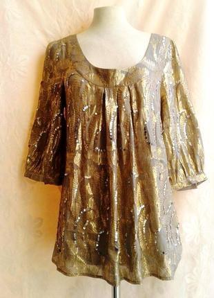 Просвещающаяся шифоновая блузочка обшитая золотым люрексом и паетками, шелк,l