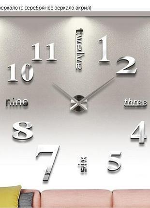 Настенные зеркальные часы 3d цифры