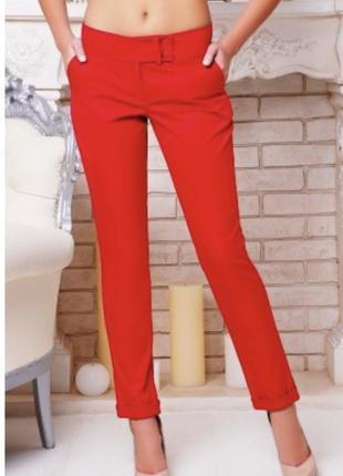 Красные  яркие модные стильные брюки классика классические с подворотом, штаны