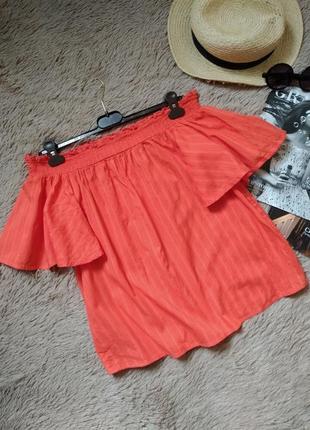 Яркая хлопковая блузка с открытыми плечами/блуза/кофточка/топ