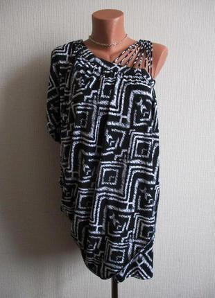 Асимметричное трикотажное платье-туника в принт select