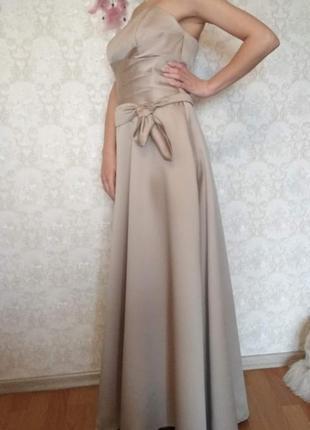 Длинное вечернее нарядное платье бюстье alfred angelo дизайнерское + бонус