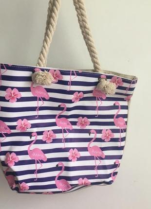 Пляжная эко сумка фламинго полосатая