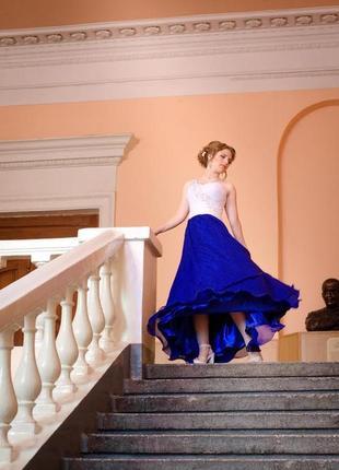 🔥final sale 2020🔥выпускное платье/платье на свадьбу / корсет/  синее длинное (в пол)