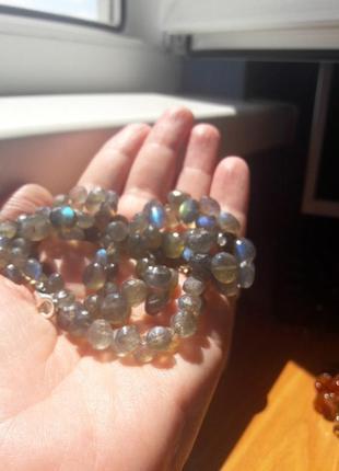 Бусы-ожерелье натуральный лабрадор.