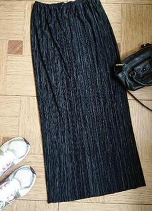 Черная длинная базовая юбка гофре , плиссе