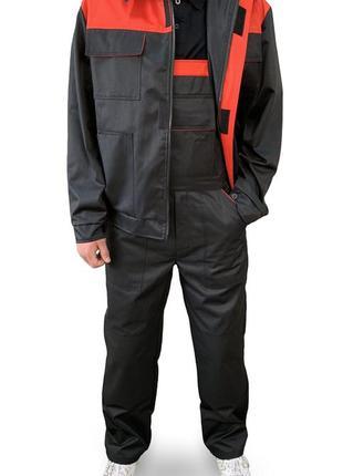 Костюм рабочий универсальный  куртка+полукомбинезон спецодежда evatrade чёрный с красным