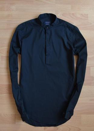 Фирменная мужская рубашка с круглым воротником zara man. оригинал. чёрная. размер s