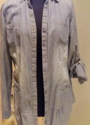 Рубашка блуза выбеленный джинс. clockhouse раз.38