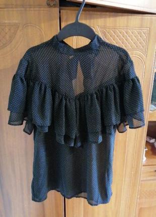 Блуза в готическом стиле, рюши, горох