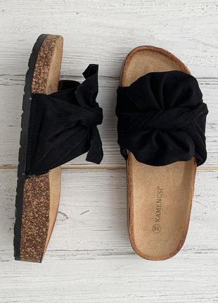 Женские черные шлепки {шлепанцы, шлёпки, тапки, сандалии} с бантом