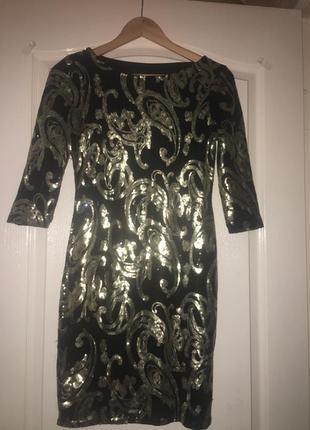 Коктейльное платье в золотые,чёрные паетки,пайетки