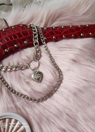Цепочка крупная цепь колье ожерелье две цепочки с кулоном сердцем серебро новая5 фото