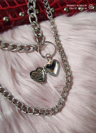 Цепочка крупная цепь колье ожерелье две цепочки с кулоном сердцем серебро новая6 фото