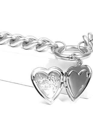 Цепочка крупная цепь колье ожерелье две цепочки с кулоном сердцем серебро новая2 фото