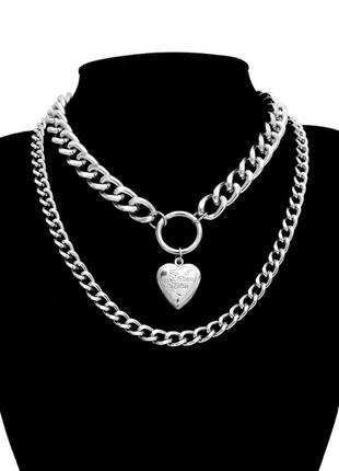 Цепочка крупная цепь колье ожерелье две цепочки с кулоном сердцем серебро новая