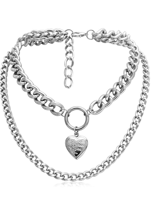 Цепочка крупная цепь колье ожерелье две цепочки с кулоном сердцем серебро новая3 фото